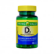 Vitamina D-3, 125mcg (5000iu), Spring Valley, 100 Softgels