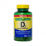 Vitamina D-3, 125mcg (5000iu), Spring Valley, 400 Softgels (Mais de 1 Ano de D-3)