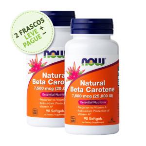 Betacaroteno Natural, 7500mcg (25.000iu), Now Foods, 90 Softgels (2 Un.)