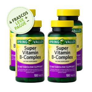 Super Complexo Vitamina B, Spring Valley, 100 Tbs (4 Un.)