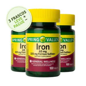 Ferro, 65mg (Sulfato de Ferro 325mg), Spring Valley, 100Tbs (3 Un.)
