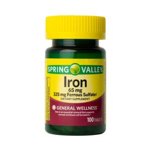 Ferro, 65mg (Sulfato de Ferro 325mg), Spring Valley, 100Tbs