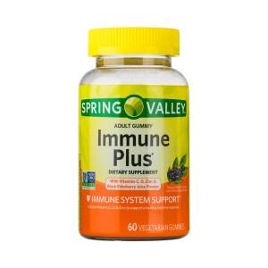 Immune Plus, com Vitamina C, D, Zinco e Sabugueiro (Elderberry), Spring Valley, 60 Gomas