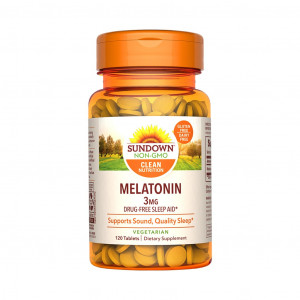 Melatonina, 3mg, Sundown Naturals, 120 Cps