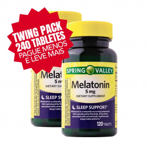 Twin Pack Melatonina, 5mg, Spring Valley, 120 Cps (2x Frascos)