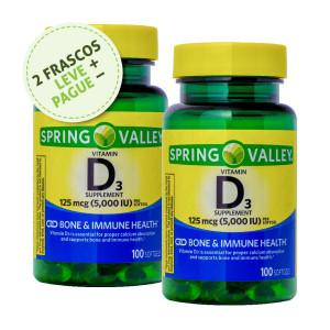 Vitamina D-3, 125mcg (5000iu), Spring Valley, 100 Softgels (2 Un.)
