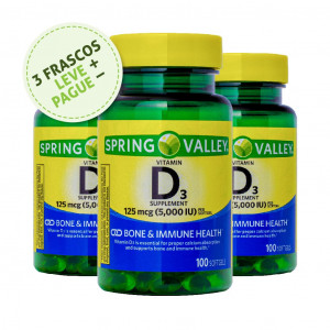 Vitamina D-3, 125mcg (5000iu), Spring Valley, 100 Softgels (3 Un.)