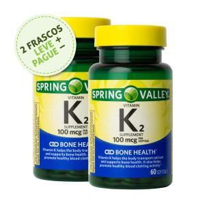 Vitamina K-2, 100mcg, Spring Valley, 60 Softgels (2 Un.)
